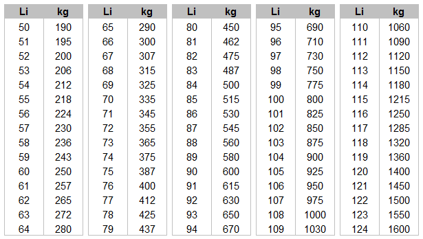 Zátěžový index pneu